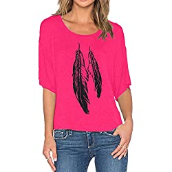 Romastory Womens Street Style Feather Pattern T-shirts Casual Loose Top Tee Shirts (M, Rose Red)