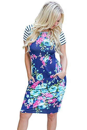 Neue Damen Blau Bunt Floral Print Fashion TShirt Dress Club Wear ...