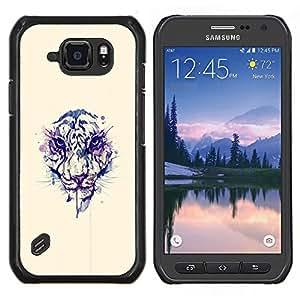 Qstar Arte & diseño plástico duro Fundas Cover Cubre Hard Case Cover para Samsung Galaxy S6Active Active G890A (Cara del tigre de la acuarela)
