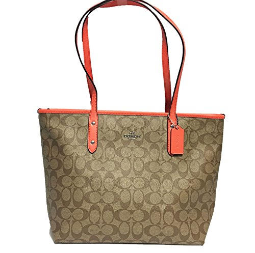 Coach Signature City Zip Tote Bag Handbag (SV/Khaki/ Bright Orange)