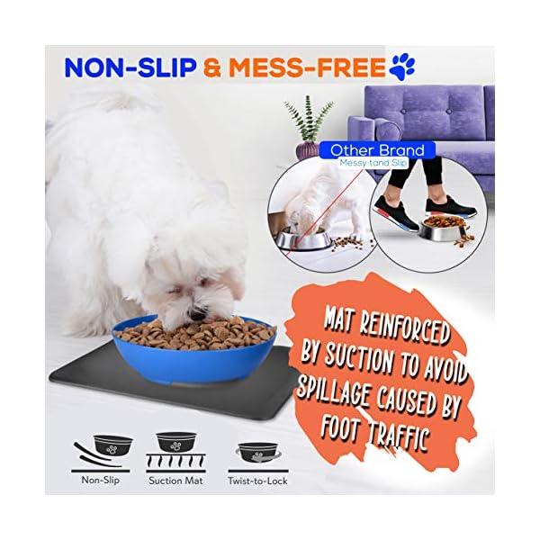 SereneLife Flip Spill Proof Set-Interlocking Non Skid Pet Puppy Cat Dog Mat-Twisty Dish Food/Water Bowl for Mess Free Feeding SLTDG6, Medium, Blue (SLTDG66)