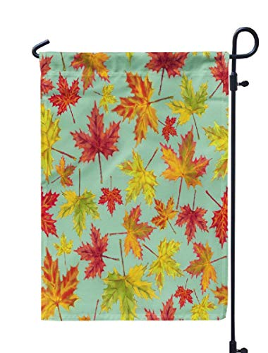 KJONG Watercolor-Red-Maple Garden Flag,12x18 inch Seasonal Flag Fall Maple Leaves Pattern Mint Watercolor Botanical Gift Wrap Weatherproof Double Sided Outdoor Flags for Yard Patio House Decorations