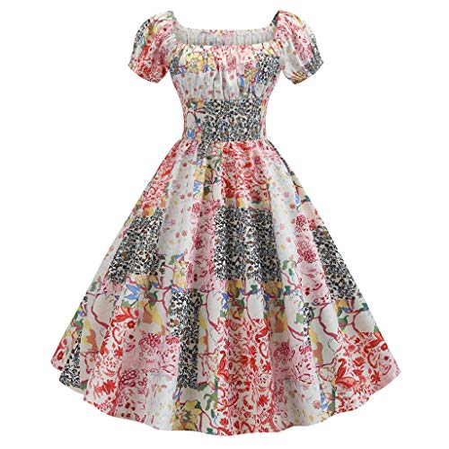 Women's Vintage 1950s Dresses, Retro Short Sleeve Print Evening Party Gown Prom Swing Dress - Guest Shirts Orange A-Line Sleeveless Petite Sequin Ruffle 1950S Indian Short 60S Tunic (Red_ 42 S)