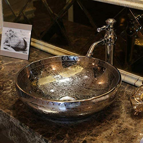Yadianna 銀エンボスセラミック洗面浴室洗面台セラミック洗面バスルームシンク