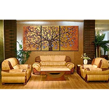 100% Hand Painted Oil Painting 3 Piece Canvas Art Modern Art Wall Art Deco Home Decoration Group Painting Artwork Golden Tree (Unstretch No Frame)