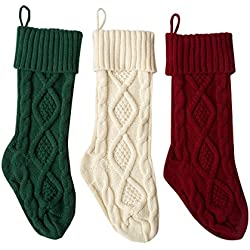 Solucky Set of 3, 18'' Classic Solid Color Christmas Knit Stockings, White, Red and Green