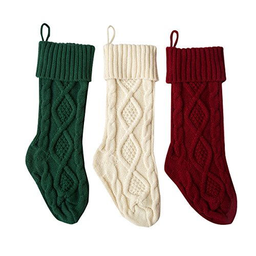 Solucky Set of 3, 18'' Classic Solid Color Christmas Knit Stockings, White, Red and Green -