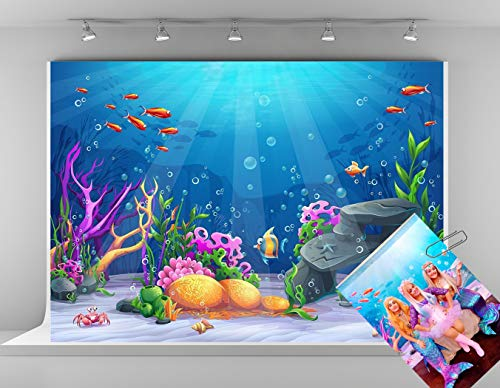 Kate 7x5ft Blue Underwater Photography Backdrops Colorful Fish Background Fairy Tale Backdrops -