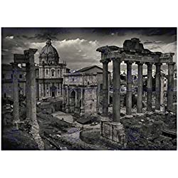 PHOTO CITYSCAPE ROME ITALY ROMAN FORUM RUIN BLACK FRAMED ART PRINT B12X13034