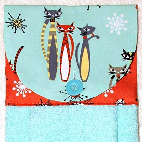 Atomic Hanging - Hanging Hand Towel - Mod Cats On Aqua with Coral Starburst Accent Fabric - Plush Aqua Kitchen Towel