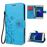 "Zenfone 3 Max Case , Leathlux [Stand Function ] Fashion Retro PU Leather Wallet Case Flip Protective Cover with Card Slots & Wrist Strap for Asus Zenfone 3 Max ZC520TL 5.2"" Blue"