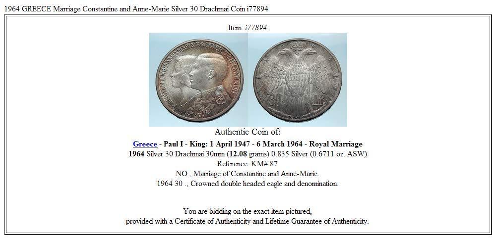 GREECE  30 Drachme 1964 Silver VERY GOOD PRICE!!!! EXTRA FINE