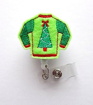Amazon.com: Ugly Navidad Suéter Verde – Retráctil Insignia ...