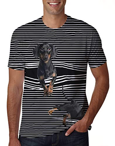 Uideazone Plus Size T-Shirt for Couples Short Slevee Graphic Tees 3D Dog Printed Shirt Casual Top]()