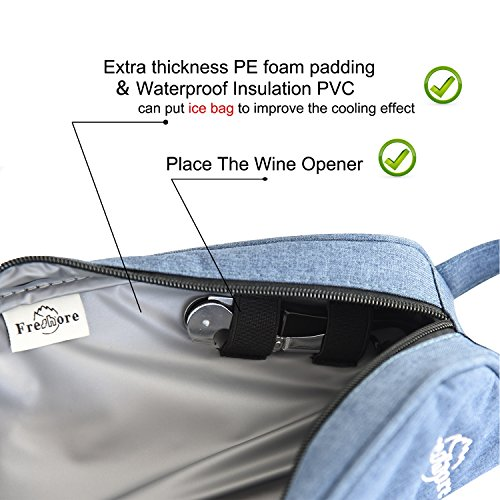 Freshore Insulated Single Wine Tote Bag Carriers For Cooler Restaurant As Gift - Firmly Store Corkscrew (Gray Blue) by Freshore (Image #3)'