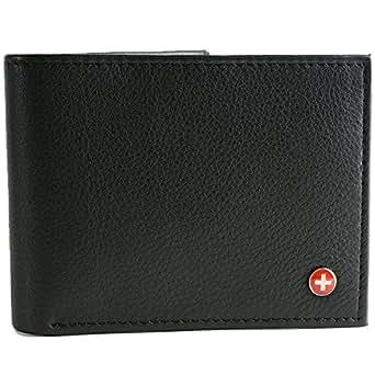 Alpine Swiss Men's Multi-Card Compact Center Flip Bifold Wallet Black