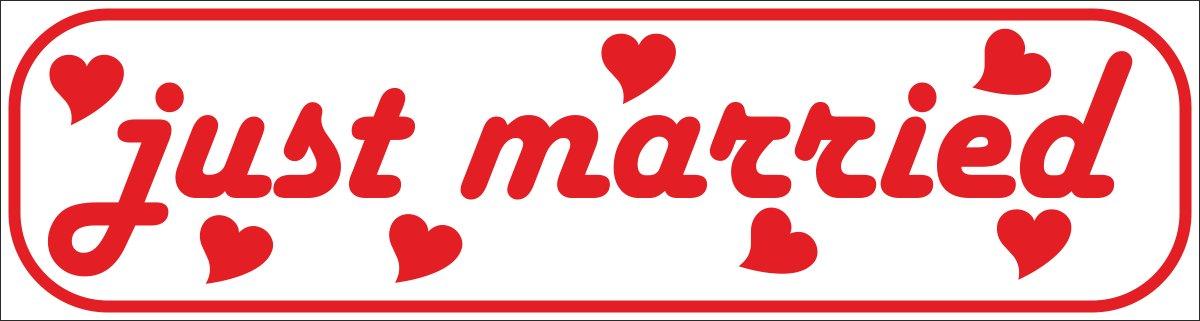 INDIGOS UG Magnetschild just married 45 x 12 cm reflektierend Magnetfolie f/ür Auto//LKW//Truck//Baustelle//Firma