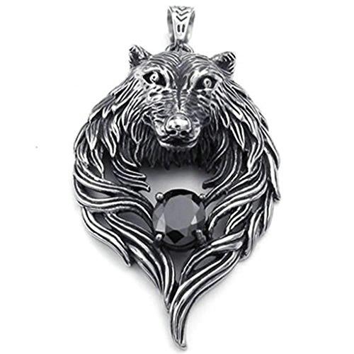 Daesar Stainless Steel Necklaces Mens Pendant Necklaces Wolf Head Design - Shop Head Headies