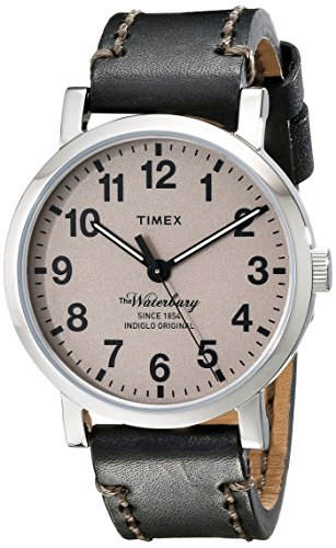 Timex Men's TW2P58800AB Originals Stainless Steel Watch with Black Leather Band