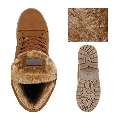 Stiefelparadies Damen Outdoor Boots Kunstpelz Winter Stiefeletten Warm Gefüttert Flandell Hellbraun
