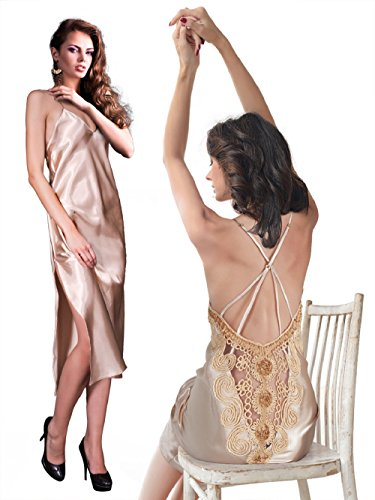 Miorre Papaya Satin Long Gown & G-String Set,X Large