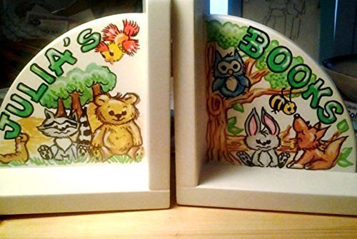 Handpainted Personalized Forest Animal Bookends