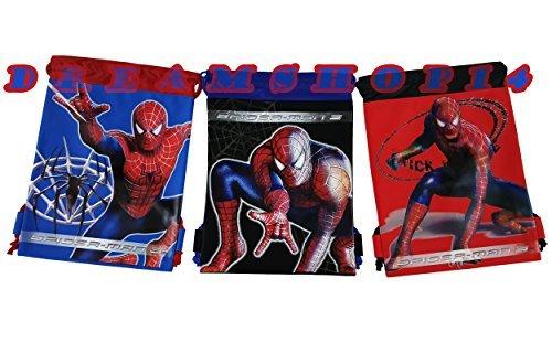 Spiderman 3pc. Drawstring Bags - Large Drawstring Bags (Spider Man Drawstring)