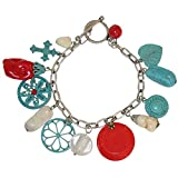 GIRLPROPS Fabulous! Imitation Turquoise, Coral, Onyx and Enameled Charms Boho Charm Bracelet, in Turquoise with Silver Tone Finish