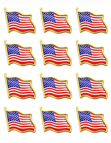 American Flag Lapel Pins -12 USA Waving Flag Pins United States US Badge Pins brooch for patriotic display -12pack