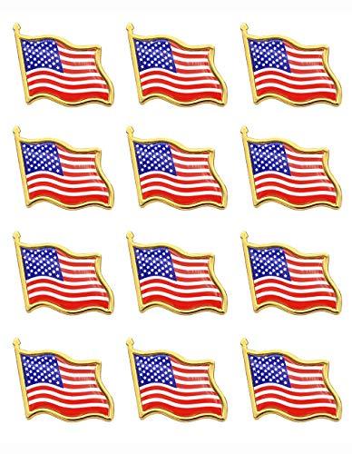 (American Flag Lapel Pins -12 USA Waving Flag Pins United States US Badge Pins brooch for patriotic display -12pack )