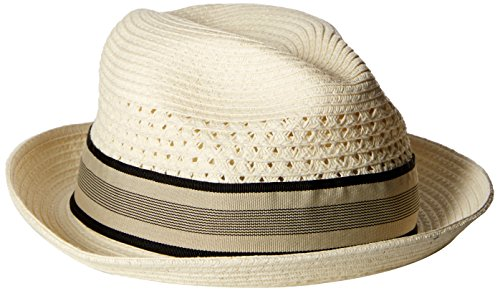 - Scala Men's Vent Crown Paper Braid Fedora, Ivory, Large