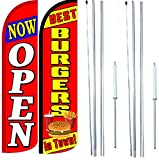 Best Burgers In Town Now Open King Windless Flag Sign With Complete Hybrid Pole set - Pack of 2