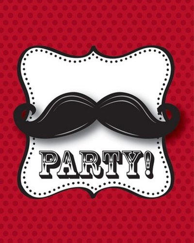 8-Count Party Invitations, Mustache Madness