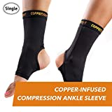 CopperJoint Copper-Infused Compression Ankle Sleeve, High-Performance, Breathable Design Provides Comfortable and Durable Joint Support for All Lifestyles, Single Sleeve (Large)