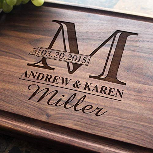 (Monogram Personalized Engraved Cutting Board- Wedding Gift, Anniversary Gifts, Housewarming Gift,Birthday Gift, Corporate Gift, Award, Promotion.)