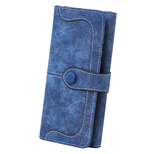 (Cynure Women's Vegan Leather 17 Card Slots Card Holder Long Big Bifold Wallet,Navy)