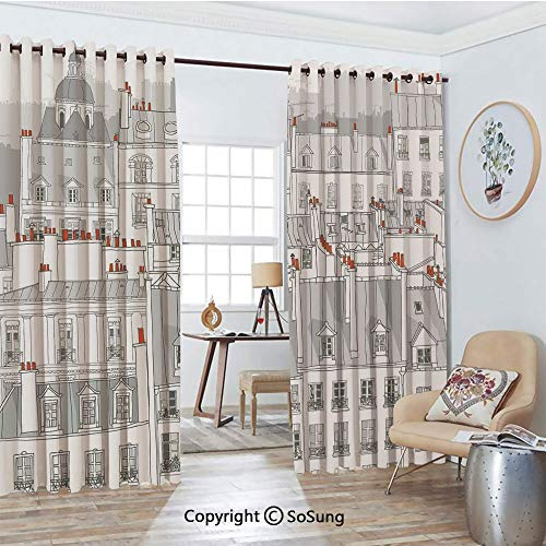 Thermal Insulated Blackout Patio Door Drapery,Aerial View Illustration of Roofs Attics of Paris Cityscape European Style Buildings Room Divider Curtains,2 Panel Set,100