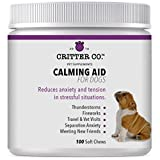 Critter Co Calming Aid for Dogs with L-Tryptophan - 100 Count - Soft Chew Calming Treats Helps with Thunderstorms, Fireworks, Separation Anxiety, and More - Made in USA