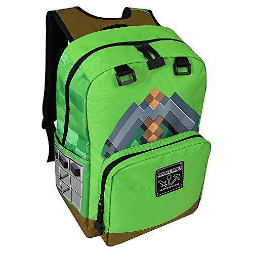 JINX Minecraft Pickaxe Adventure Kids School Backpack, Green, 17