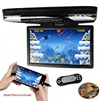 XTRONS 15.6 Inch 1080P Video HD Digital Widescreen Car Overhead Coach Caravan Roof Flip Down DVD Player Game Disc with HDMI Port