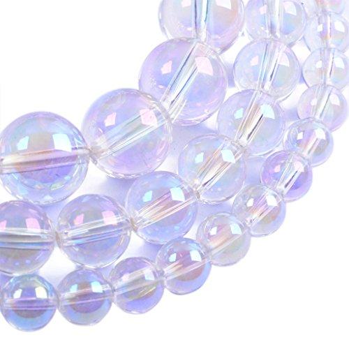 Aqua Aura Clear Quartz 8MM Gemstone Round Loose Beads 16