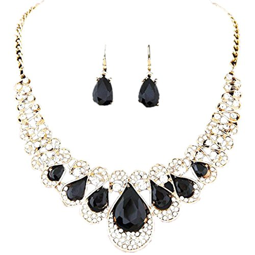 - Mother's Day Gift, Muranba Womens Bohemia Color Bib Chain Necklace Earrings Jewelry (Black)