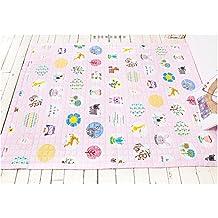 Rectangle Shape Cotton Toddler Carpet - Cartoon Pattern Design Kids Rug Activity Crawl 59 x 79 Inch