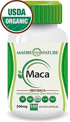 Certified Organic Gelatinized Red Maca Root Powder Supplement - 500mg X 100 Capsules (Vegan) - Peruvian Andes - Gluten-free