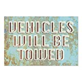 CGSignLab | ''Vehicles Will Be Towed -Ghost Aged Blue'' Repositionable Opaque White 1st Surface Static-Cling Non-Adhesive Window Decal (5-Pack) | 30''x20''