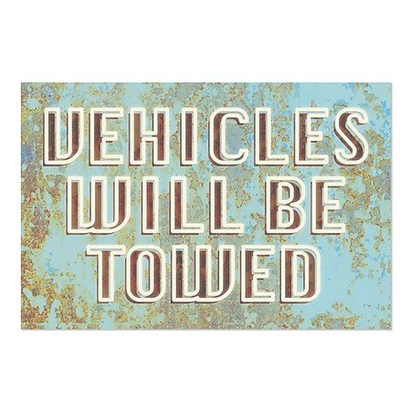 CGSignLab | ''Vehicles Will Be Towed -Ghost Aged Blue'' Repositionable Opaque White 1st Surface Static-Cling Non-Adhesive Window Decal (5-Pack) | 30''x20'' by CGSignLab