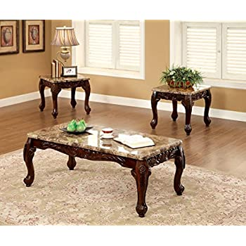 Furniture Of America Beltran 3 Piece Traditional Faux Marble Top Accent  Tables Set, Dark Oak