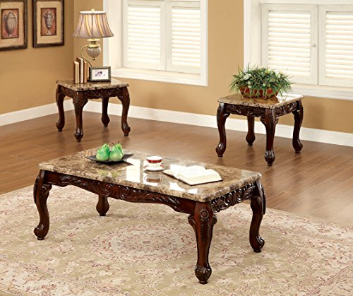 (Furniture of America Beltran 3-Piece Traditional Faux Marble Top Accent Tables Set, Dark Oak)