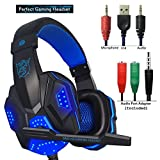 Cheap Gaming Headset for PS4 Xbox One, hyfanda Over Ear Gaming Headphones with Mic, Stereo Bass Surround, Noise Reduction, LED Lights and Volume Control for Laptop, PC, Mac, iPad, Smartphones (Blackblue)