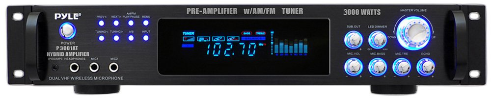 Pyle P3001AT 3000W Hybrid Pre Amplifier with AM/FM Tuner by Pyle